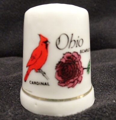 State of Ohio Porcelain Thimble with Cardinal Bird & Scarlet Carnation Souvenir