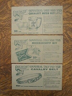 3 Nabisco Shredded Wheat cereal premiums 1956 RIN TIN TIN cards-mess kit/belt