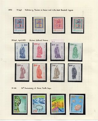 TAIWAN; 1972 early pictorial MINT MNH issues group on album page