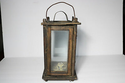 ANTIQUE 19THC WOODEN BARN CANDLE LANTERN w/ GLASS SIDES Old Primitive