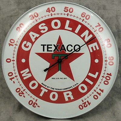 """Texaco™ T Gasoline Oil Thermometer 12"""" Round Glass Dome Sign ~ Red Star ~"""