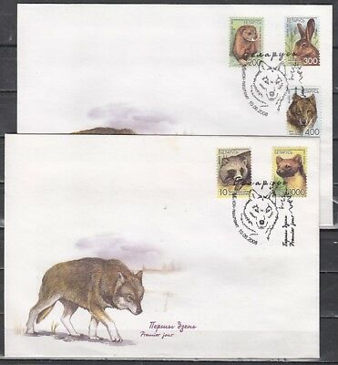 Belarus, Scott cat. 655-659. Fauna issue on 2 First day covers.
