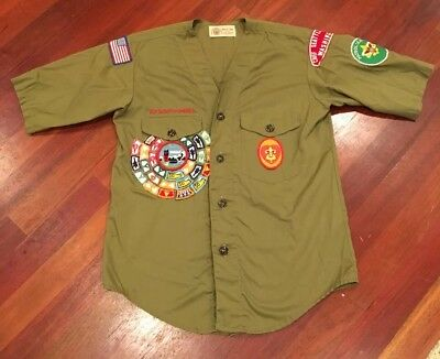 BSA Boy Scouts of America Green Khaki Uniform Short Sleeve Shirt Youth Small