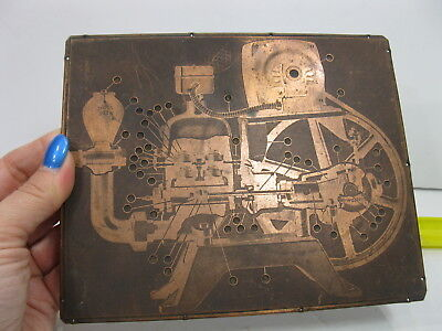 Copper Printing Plate Machine Schematics Steampunk Industrial Vintage