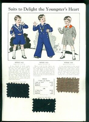 c1920 Boys Clothing Catalog Page Real Fabric Samples