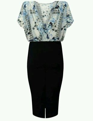 New Lipsy Black Blue White Floral 2 IN 1 Dress Sz UK  10 12