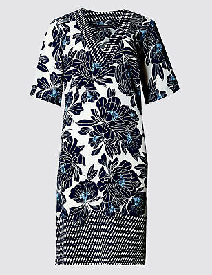 New M&S COLLECTION Blue White V-Neck Floral Tunic Dress Sz UK 8 Short/Petite