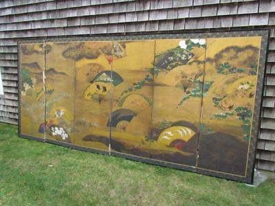 ANTIQUE JAPANESE MEIJI PERIOD (1868-1912) 7 PANEL GILT SCREEN with LANDSCAPE