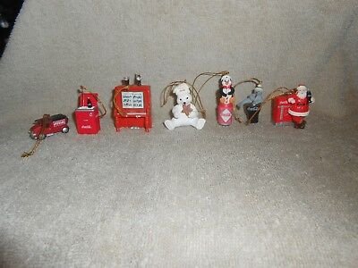 Coca-Cola--Lot of 7--Different Miniature or Mini Xmas Ornaments,