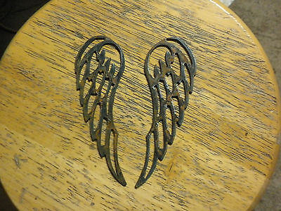 """Lot of 2 Angel Wings 6"""" Rough Rusty Metal Vintage Stencil Ornament Magnet Craft"""