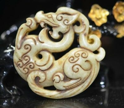 Exquisite Chinese old jade hand carved dragon talisman Pendant   a12