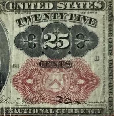 "1874 US Fractional Currency ""TWENTY FIVE CENTS"" VG Old US Paper Currency"