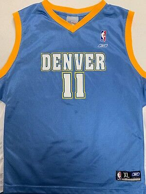 467f7a76a REEBOK NBA DENVER Nuggets  15 Carmelo Anthony White Sewn Jersey - Sz ...