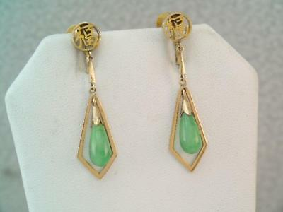 Vintage Chinese 14K Solid Gold Apple Green Jade Earrings Signed Long Drops