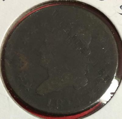 """1814 US Classic Head LARGE CENT """"Carpenter"""" Counterstamp! RARE! Old US Coin!"""
