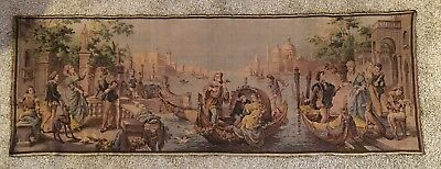 "Magnificent Large Antique Vintage French Wall Hanging Tapestry 55"" X 20"""