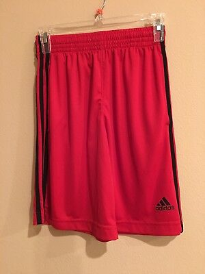 Adidas Boy's Shorts Size Med 10-12 Shorts Red 3 Stripe Pattern Nice