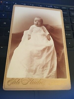 Antique Cabinet Card Photo: Baby Infant in gown, Elite Studios Cleveland