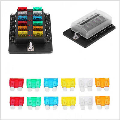 100A 12-Way Car Boat Circuit Blade Fuse Box Standard ATO ATC+Terminal Connectors
