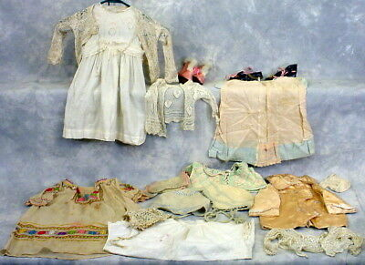 Antique Lot Of Baby Very Fine Lace Sweaters, Lawn Dress, Shoes Sock Victorian