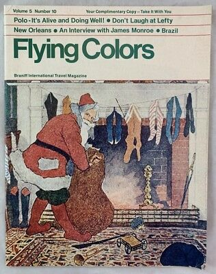 1976 In Flight Magazine Braniff Airlines Flying Colors Santa Claus Christmas +