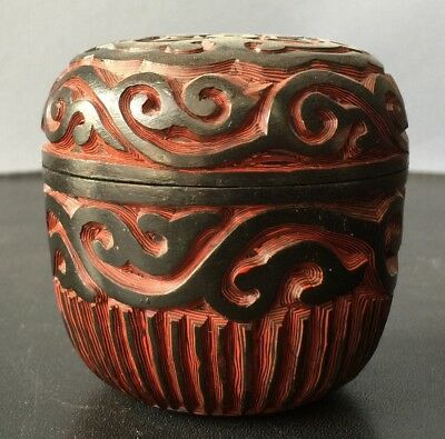 Chinese Cinnabar and Black Lacquer Round Box with Cover