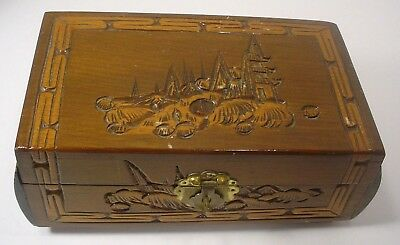 Vintage Wooden Carved Oriental Jewelry Box