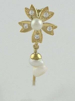 Ladies 18K Yellow Gold Flower Pearl June Stick Pin Jewelry Brooch 1.32""