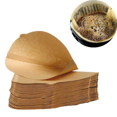 100pcs Brown Coffee Filter Paper Cones Disposable Replacement Unbleached