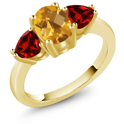 2.33Ct Checkerboard Yellow Citrine Red Garnet 18K Yellow Gold Plated Silver Ring