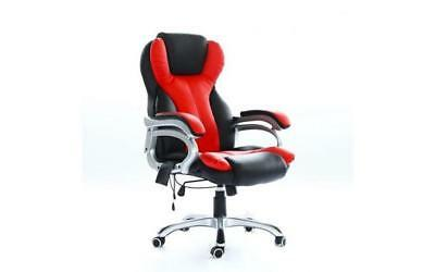 Office Massage Chair Heated Vibrating Computer Gaming Racing Car Seat Red New
