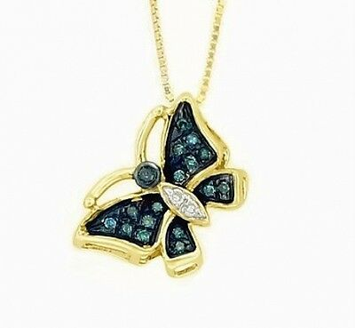 Butterfly Pendant 10K Yellow Gold Blue & White Diamond Butterfly Pendant .06ct