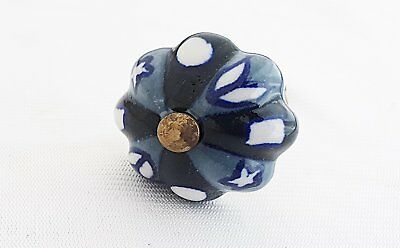 Ceramic small grey black floral 3.5cm pumpkin door knob/pulls/handles