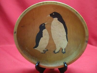 Vintage Munising Wooden Oval Bowl With Handpainted Penquins