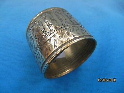 Vintage ~ Heavy Brass Engraved Napkin Ring