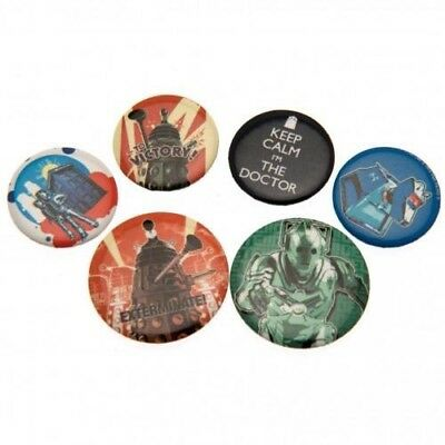 Doctor Who Six Button Badges Set with Free UK P&P
