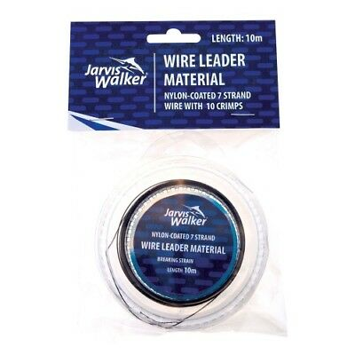 JARVIS WALKER Nylon Coated 7 Strand Wire Trace - 100lb / 10m + Crimps - 382540