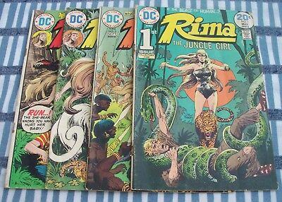 DC Comics RIMA The Jungle Girl #1, 3, 6 & 7 from 1974 to 1975 low grade readers