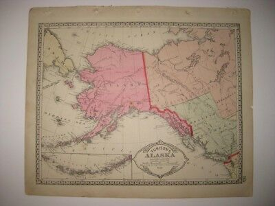Antique 1885 Alaska & Mexico West Indies Central America Handcolored Map Superb