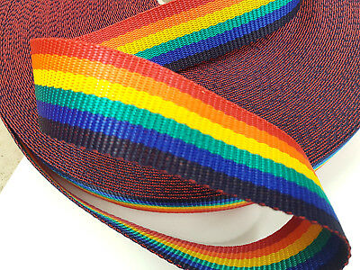 Bright Rainbow Webbing 50mt Reel 38mm Wide Upholstery Sewing Craft Braid Border