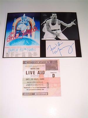 Queen Freddie Mercury Live Aid 1985 Photograph & Replica Ticket