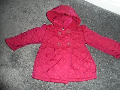 Nutmeg girls stunning deep red warm quilted coat age 3-4 years