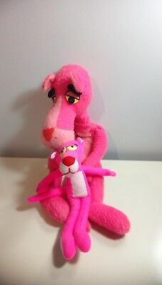 Vintage 1964 Mighty Star 20 inch & 1993 Ace Novelty 10 inch Pink Panther plush