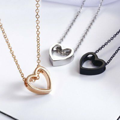 Women Hollow Heart Charm Necklace Pendant Chain Gold Silver Black Jewelry Gift