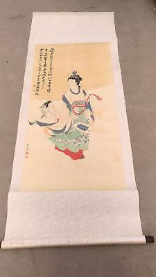 Excellent Chinese 100% Hand Painting & Scroll figure By Zhang Daqian张大千 蟠桃祝寿