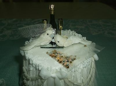 Dollhouse Miniature Wedding Champagne Bottle,Wine Glasses,Love Birds -Feathers