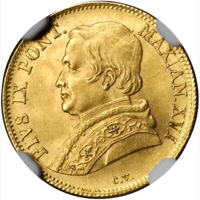 Italy Papal States  1862-R  1 Scudo Gold Coin Uncirculated, Certified Ngc Ms-64