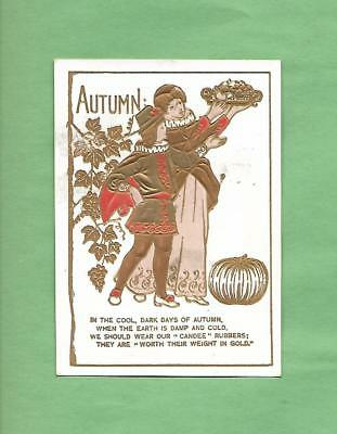 AUTUMN SCENE On WM. DAVENPORT CANDEE SHOES Of TOWN LINE, PA Victorian Trade Card