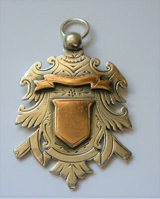 VICTORIAN GOLD & SILVER MEDAL/ WATCH FOB 1892. 19.5g LARGE HEAVY