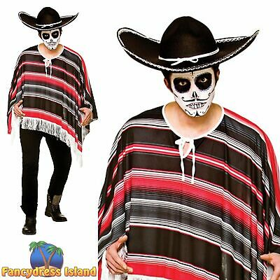Day of the Dead Bandit Striped Poncho Halloween Adult Mens Fancy Dress Costume